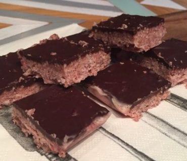 Low Carb Raspberry Coconut Chocolate Slice