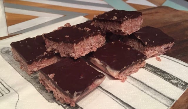 Low Carb Raspberry Coconut Chocolate Slice